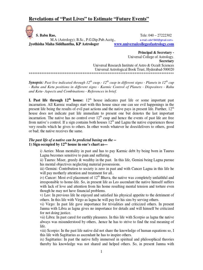 Revelations-of-Past-Life-to-Estimate-Future-Events pdf | Karma | New