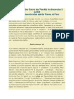 Sermon Du Père Bruno en Vendée Le Dimanche 5 Juillet