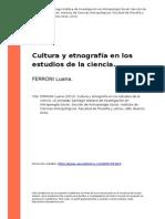 FERRONI Luana (2013). Cultura y Etnografia en Los Estudios de La Ciencia