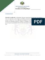 Communiqué de la Présidence de la République Gabonaise relatif à la visite de Lionel Messi au Gabon du 17 au 18 juillet 2015