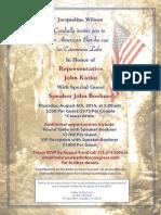 Invite to John Boehner fundraiser for John Katko