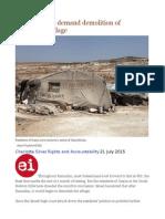 Israeli Settlers Demand Demolition of Palestinian Village
