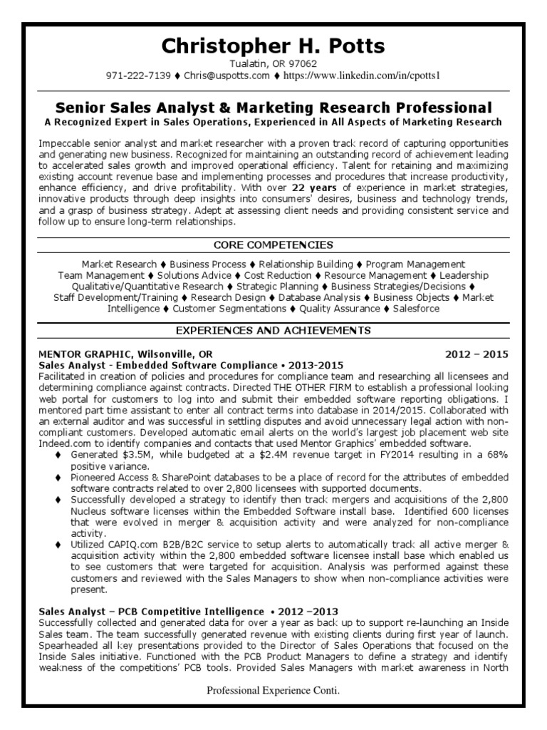 Market Research Channel Marketing Manager in Portland OR Resume ...