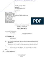 Vintage Roadside v. City of Portland notice of removal
