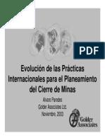 Evolución de las Prácticas Internacionales para el Planeamiento del Cierre de Minas