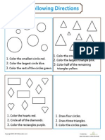 Following Directions SHAPES Coloring Worksheet