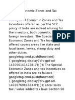 Special Economic Zones and Tax Incentives