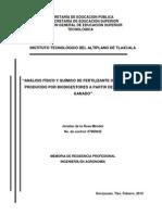 Análisis Físico y Químico de Fertilizante Organico Biol. Jonatan de La Rosa Méndez