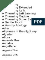 Fonts List