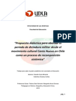 Propuesta Didáctica Para Abordar El Periodo de Dictadura Militar Desde El Movimiento Cultural Canto Nuevo en Chile Como Un Proceso de Recomposición Sistémica