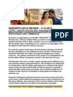Siddarth Film Review by Raymond C. Reed - FuTurXTV & Global Media Village - 3-15-2015