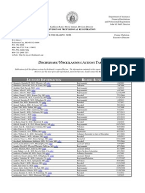 Disciplinary Miscellaneous Report