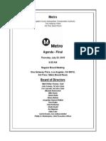 Agenda for July Board of Directors meeting