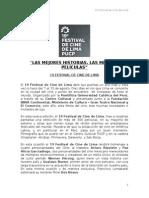 Nota de Prensa - 19° Festival de Cine de Lima