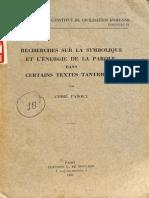 Recherches Sur La Symbolique Et L'Energie de La Parole Dans Certains Textes Tantriques - Andre Padoux_Part1