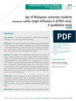 Knowledge of Malaysian university students wards swine-origin inflenza A (H1N1) virus