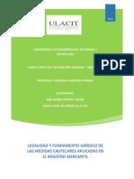Legalidad y Fundamento Jurídico de Las Medidas Cautelares Aplicadas en El Registro Mercantil