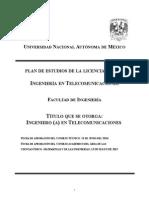 PLAN DE ESTUDIOS  2016  INGENIERIA en Telecomunicaciones