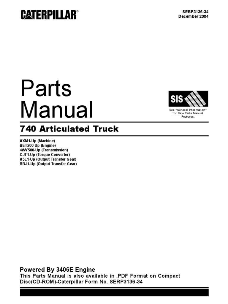 cat 740 parts manual rh es scribd com Caterpillar Engines C15 Acert Manuals Caterpillar C15 Spec Sheet