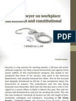 Criminal Lawyer on Workplace Harassment and Constitutional