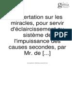 Dissertation Sur Les Miracles