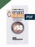 ICC Uniform Rules for Demand Guarantees 758