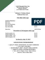 MJPerkins School Uniform Price List