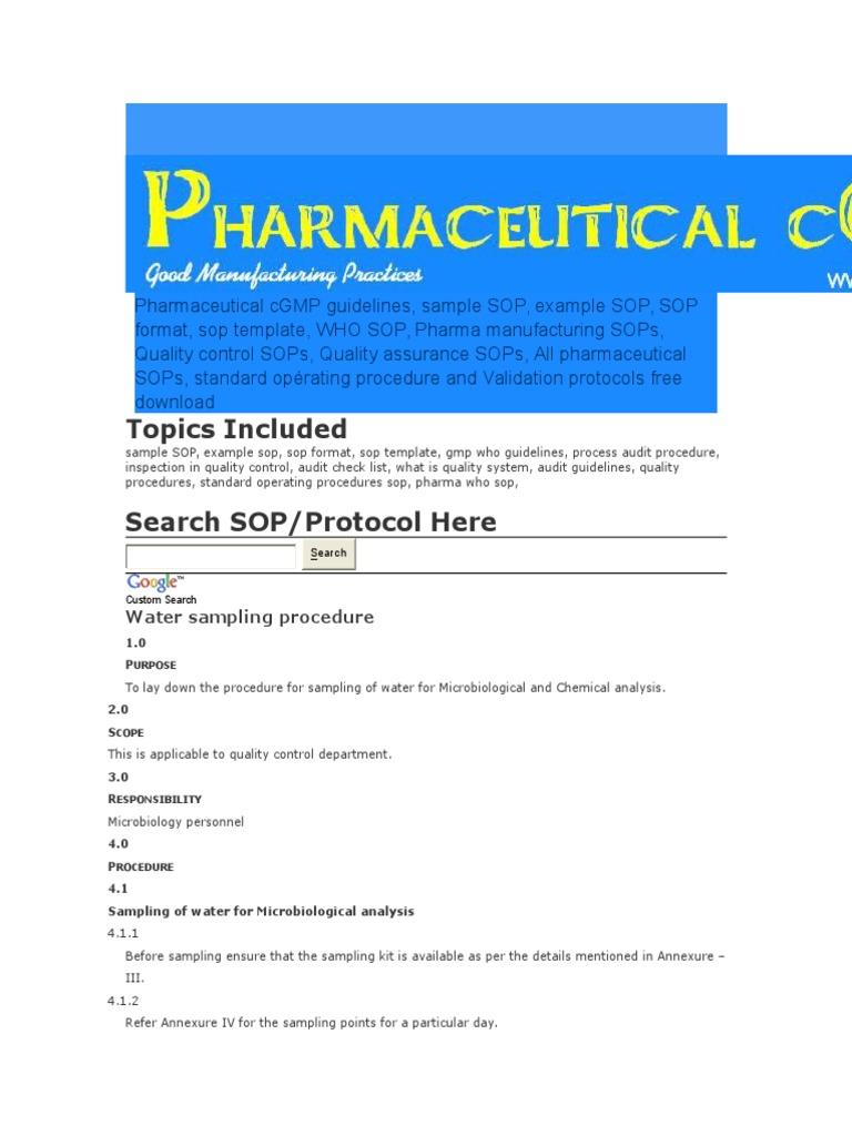 pharmaceutical cgmp guidelines water sampling procedure rh es scribd com Writing an SOP Army pharmaguideline sop