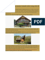 Daftar Lengkap Nama Rumah Adat Yang Ada Di Indonesia
