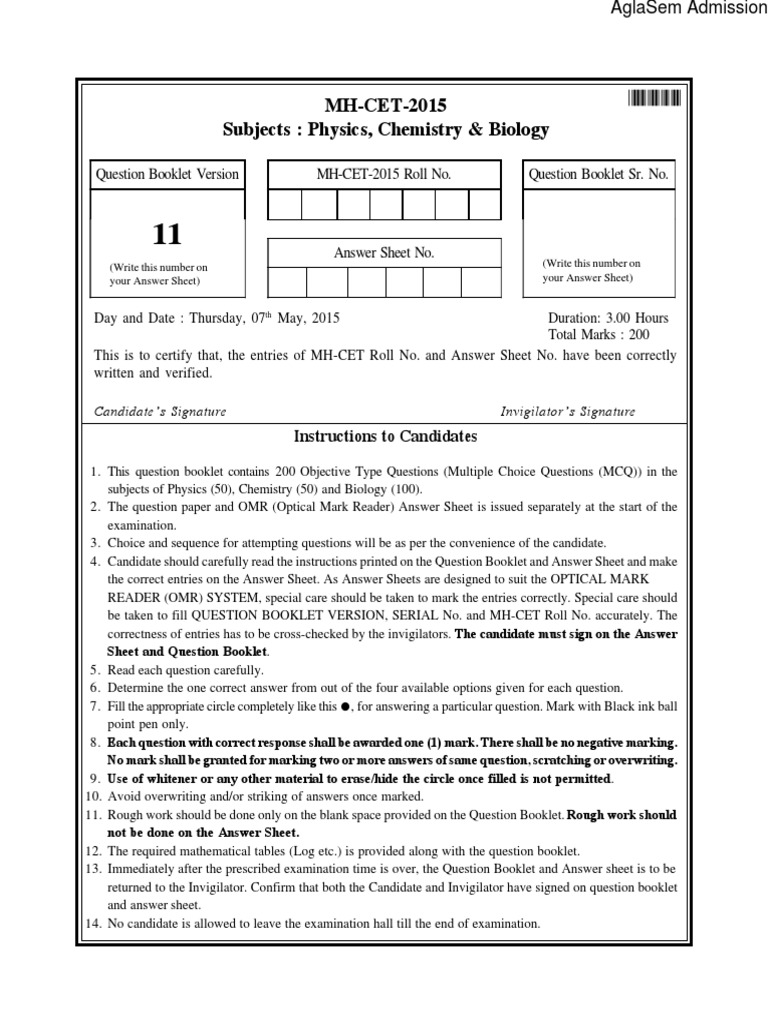 Mh Cet 2014 Papers Pdf