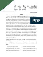 Efecto Del Uso de Los Medios Electrónicos en El Desarrollo Cognoscitivo de Los Niños - Artículo