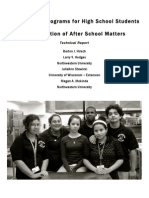 After School Programs for High School Students an Evaluation of After School Matters