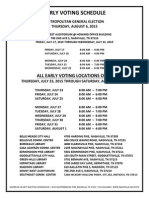 Early Voting Schedule Aug 2015