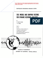EERC-70-10 Soil Moduli and Damping Factors for Dynamic Response Analyses