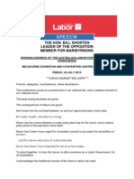 Shorten's Opening Address to ALP Conference