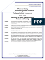 Midwestern Legislative Conference of The Council of State Governments 2015 Resolution on Animal and Plant Disease Research and Funding