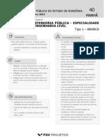 Prova-FGV-DPE-RO- Analista Da Defensoria Pública - Analista Em Engenharia Civil