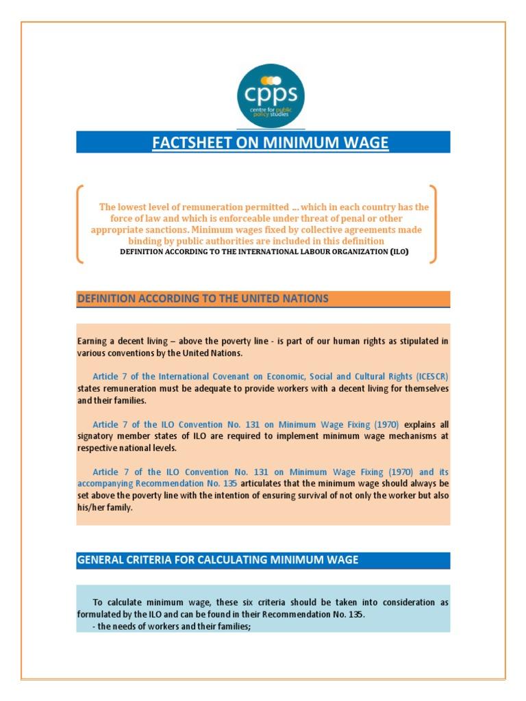 Mw Factsheet 11 Minimum Wage International Labour Organization