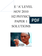 GCSE A Level Nov 2010 H2 Physics Paper 1 Answer Key