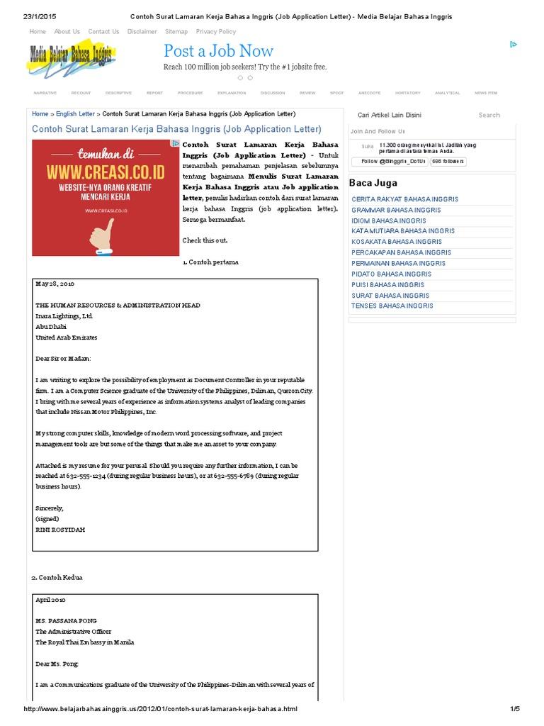 Contoh Surat Lamaran Kerja Bahasa Inggris Job Application Letter
