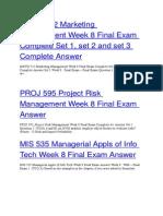 PROJ 595 Project Risk Management Week 8 Final Exam Answer