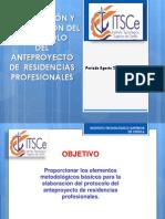 Elaboracion de Anteproyecto de Residencia Profesional Agosto 2015 Enero 2016