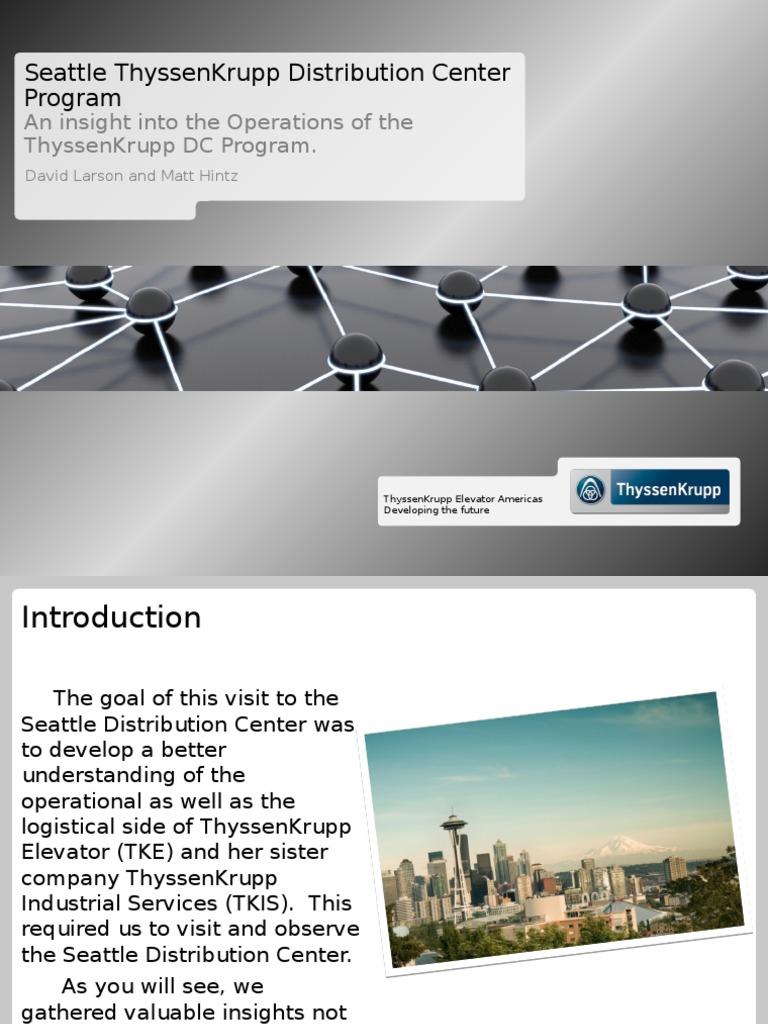 seattle thyssenkrupp distribution center program | Warehouse