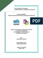 Modelo de formulación y evaluación financiera de proyectos de desarrollo de tecnologías de información para el Ministerio de Hacienda