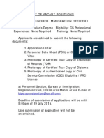 Positions Available Bureau of Immigration