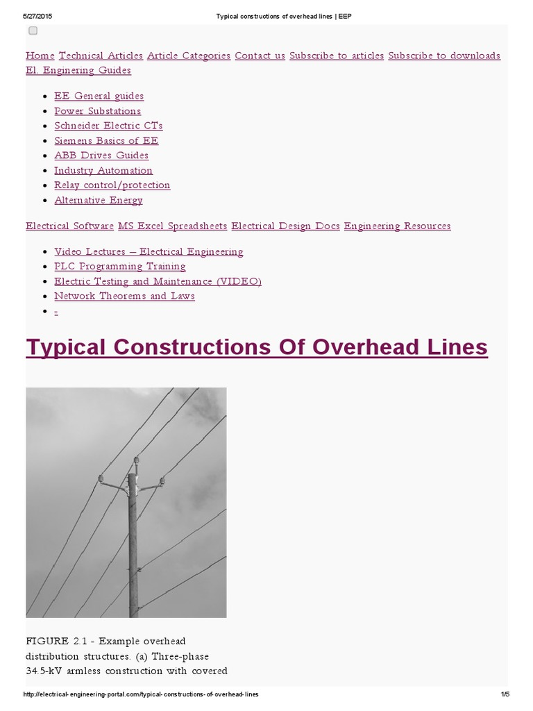 Typical Constructions of Overhead Lines _ EEP | Electric