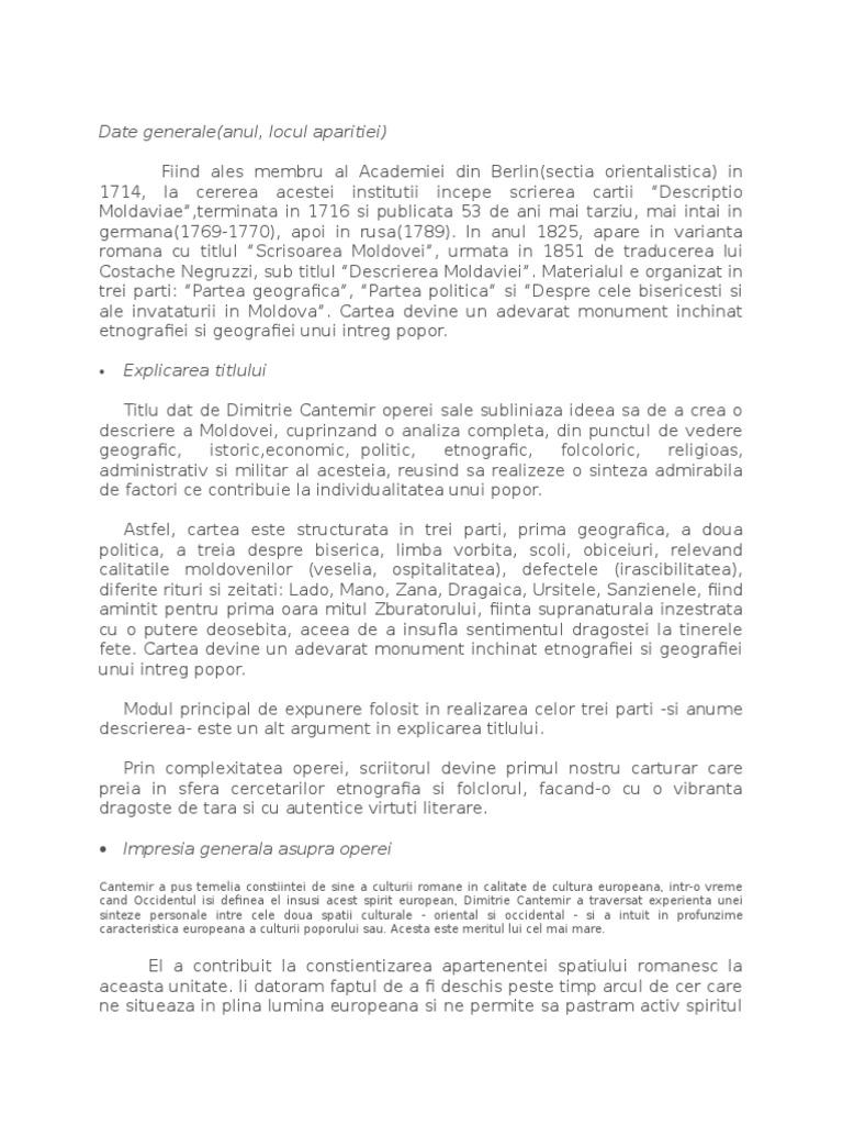 Dimitrie cantemir descrierea moldovei online dating
