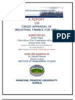 A REPORT  ON CREDIT APPRAISAL OF  INDUSTRIAL FINANCE FOR SME's