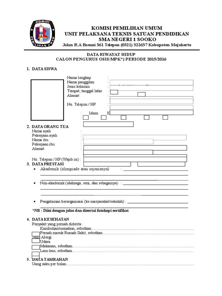 Formulir Data Riwayat Hidup Calon Pengurus Osis Mpk Kelas X