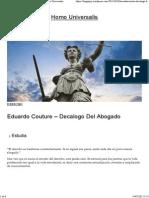 Eduardo Couture – Decalogo Del Abogado _ Homo Universalis